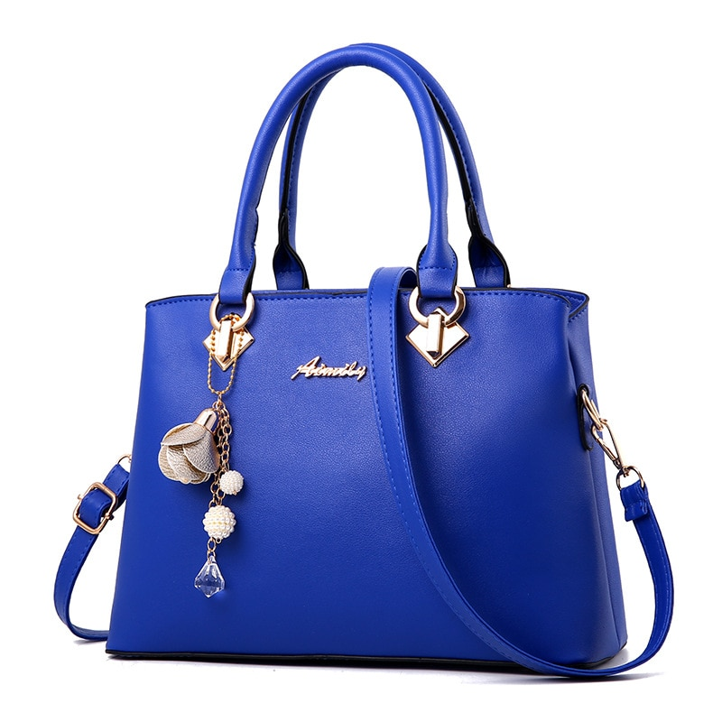 Women Bag Vintage Handbag Casual Tote Fashion Women Messenger Bags Shoulder Top-Handle Purse Wallet Leather 2019 New Black Blue