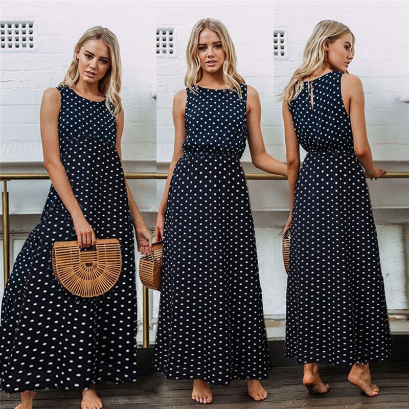 AliExpress - 2021 Bobo Women Dark Blue Boho Loose Sleeveless Holiday Dot Print Long Maxi Dress Evening Party Beach Dresses Summer Sundress