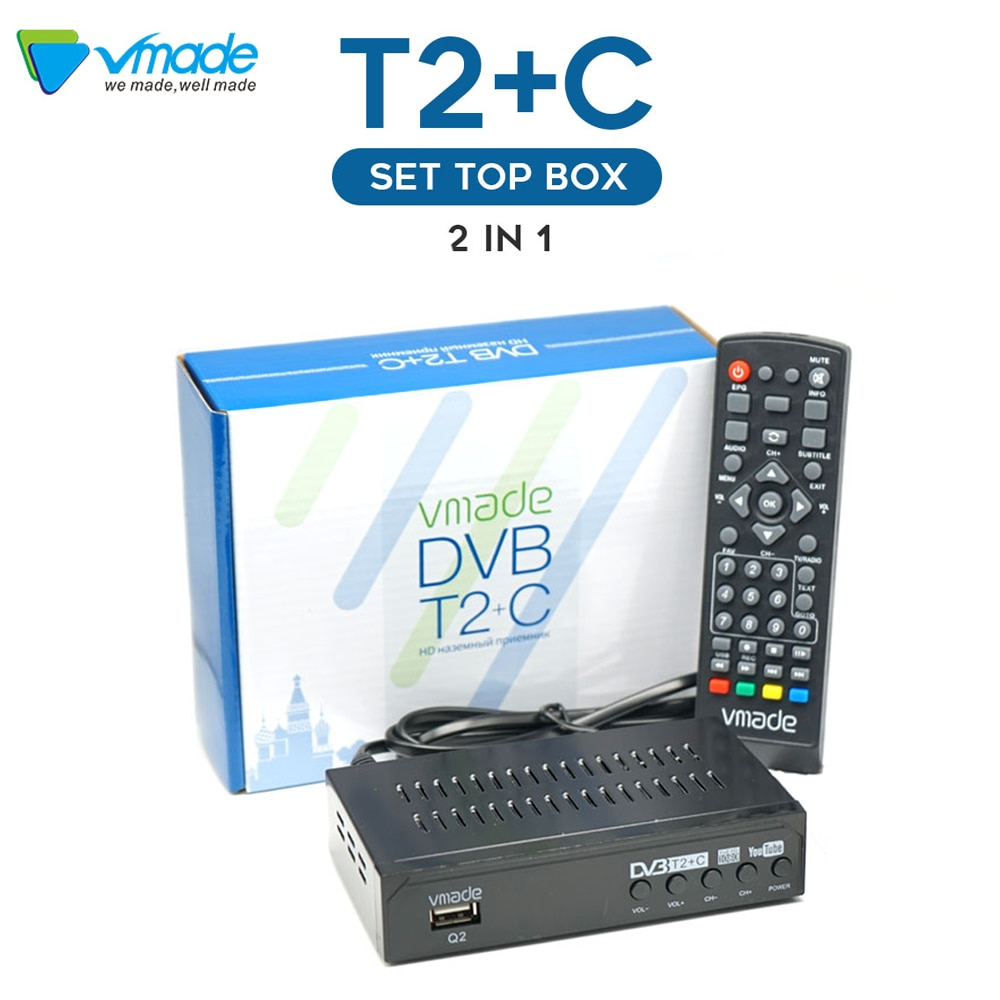 Vmade DVB-T2/DVB-C HD TV Tuner Fully 1080P Digital Receiver WIFI TV Box support Youtube Terrestrial Decoder For Hot sell Russia недорого