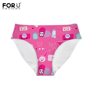 FORUDESIGNS Women's Panties Comfort Seamless Lingerie For Young Puberty Girls Kawaii Medical Pink/Blue Color Design Soft Briefs