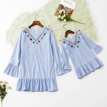 Rayé correspondant mère fille robes à volants manches maman et moi vêtements famille look femmes filles maman maman bébé robe tenues