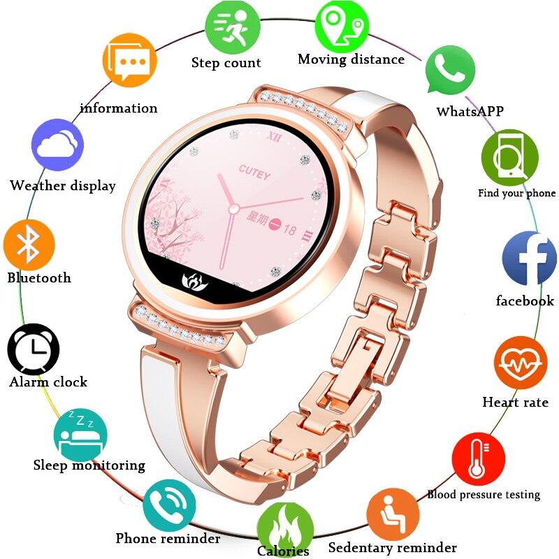 LIGE Fashion Womens Smart Watch Women Waterproof Wearable Device Heart Rate Monitor Sport Smartwatch For Women Girl Lady Gift