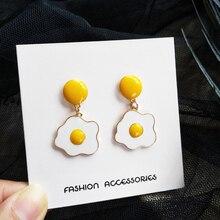 Yaologe 2020 New Fashion Funny Design Pretty Cute Earrings Food Dangle Drop Poached Egg Earrings For Women Girl Gift Jewelry