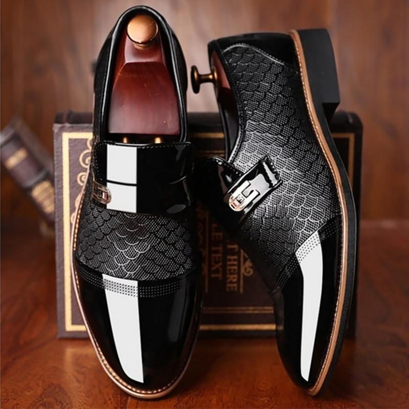 أحذية جلدية سوداء غير قابلة للانزلاق للرجال ، أحذية كلاسيكية فاخرة عصرية ، مقاومة للاهتراء ، غير قابلة للانزلاق