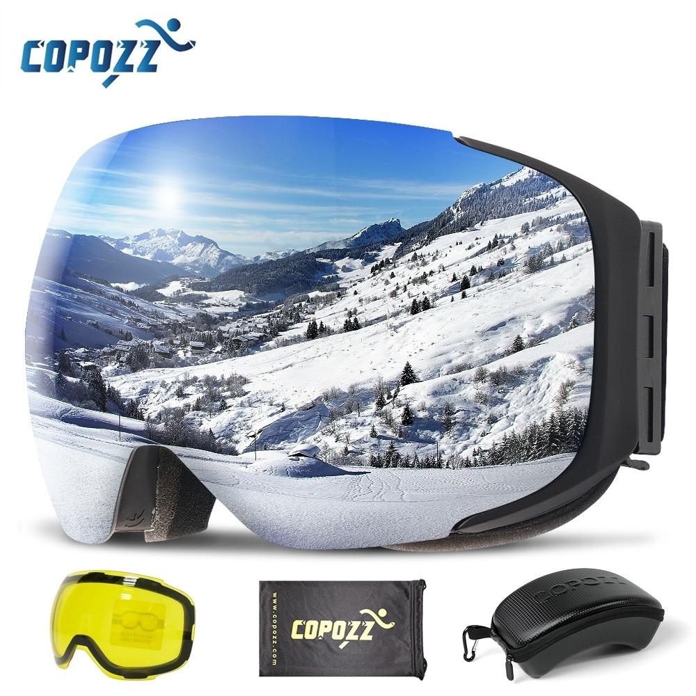 نظارات تزلج مغناطيسية COPOZZ مع عدسات 2s سريعة التغيير ومجموعة حافظة حماية من الأشعة فوق البنفسجية 400 نظارات تزلج على الجليد للرجال والنساء