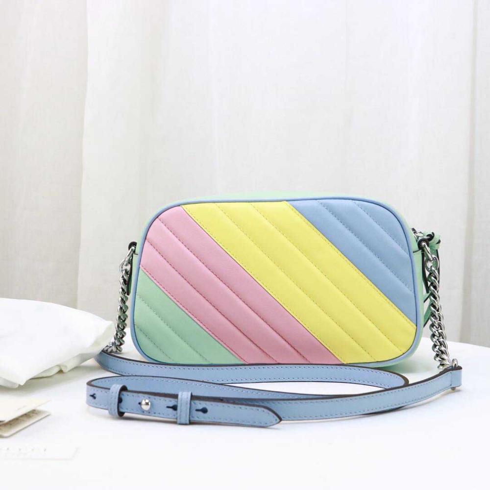 Bolso de moda de lujo para mujer, bolso marmon de alta calidad, bolso de piel de vaca genuina para mujer, bolso de cadena cruzada al cuerpo, bolso multicolor