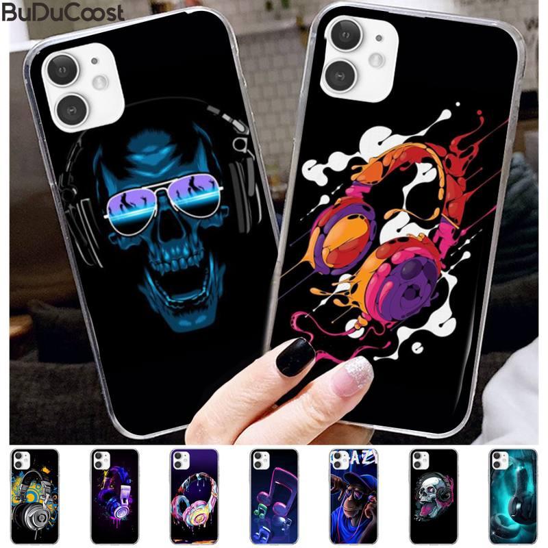 DJ loco música auriculares negro Funda para Teléfono Celular para iphone 11 Pro11 Pro Max X 8 7 6 6S Plus 5 5S SE cass