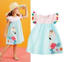 AA 1-6T Adorable nouveau bambin enfants filles Floral flamant robe dété décontracté Boho plage Sundres glands mignon robe élégante