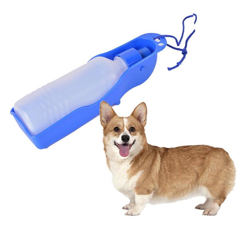 Botella de agua de transferencia para perros, botella de agua portátil de plástico de 250ml, para mascotas, para viajes al aire libre, cuenco alimentador de agua potable de Color al azar