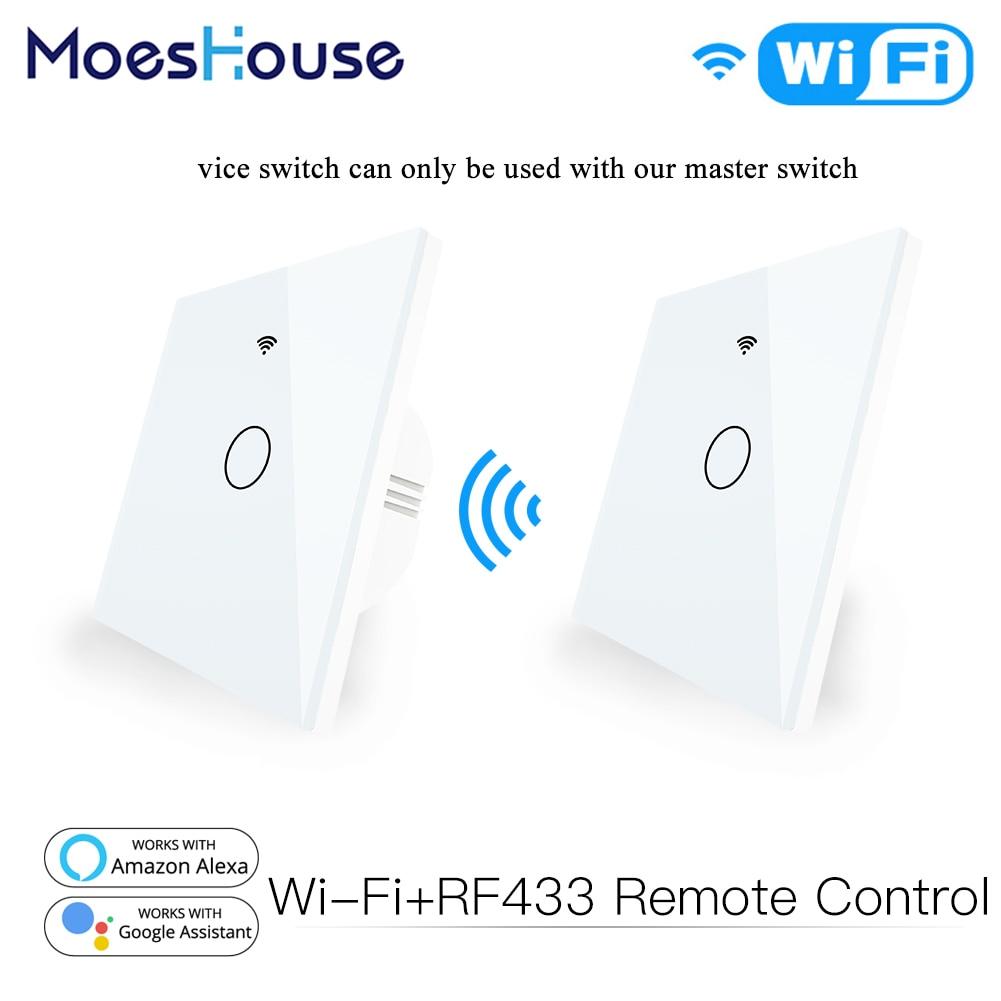 WiFi смарт-Стекло Панель сенсорный выключатель RF433 передатчик стены Панель 1/2/3 Gang Дистанционное Управление переключатель работает с Alexa Google ...