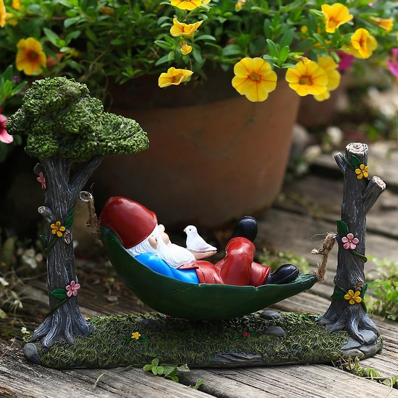 حديقة الأراجيح تمثال غنوم الإبداعية يتأرجح قزم ديكور الراتنج الحرف التماثيل زخرفة ل ساحة الحديقة ديكور المنزل