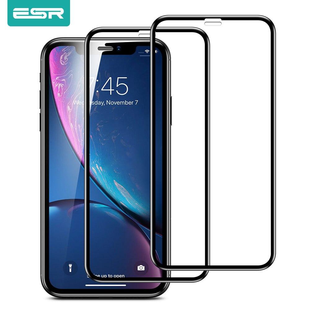 ESR 2 piezas de vidrio templado para iPhone SE 2020 11 Pro Max X XS XR XS Max 3D, cubierta completa de vidrio templado, película protectora de pantalla