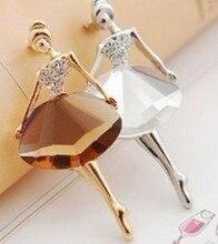 1 pièces fille mode Glamour belle princesse ballerine broche cristal broche bijoux accessoires dame broche