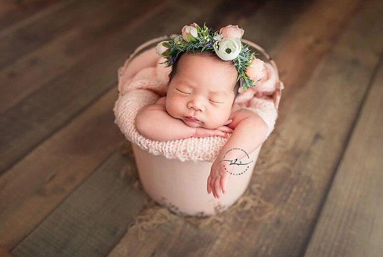 Newborn Photography Props Retro Baby Bathtub Colorful Vintage Style Bucket Infant Posing Props Shooting  Studio Accessories enlarge