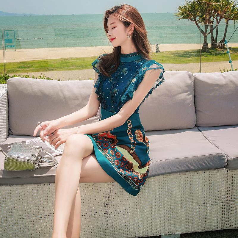 Womens summer new 2021 seaside holiday short print dress