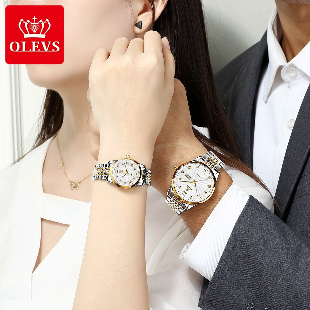 Witness your love, the top brand high-quality diamond-studded couple waterproof mechanical watch for men and women, GX-6630