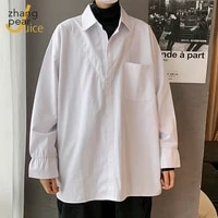 korean loose men shirt fashion long sleeve 2021 casual patchwork chic shirts men lapel streetwear camisa