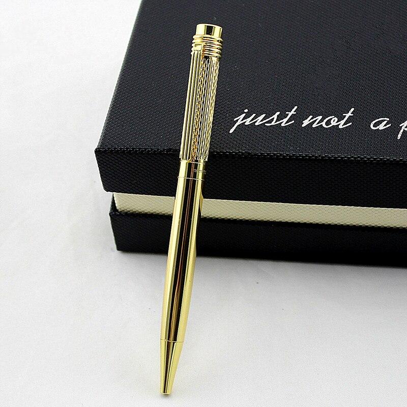 Высококачественная металлическая шариковая ручка с золотым зажимом для письма, шариковые ручки, школьные и офисные канцелярские принадлеж...