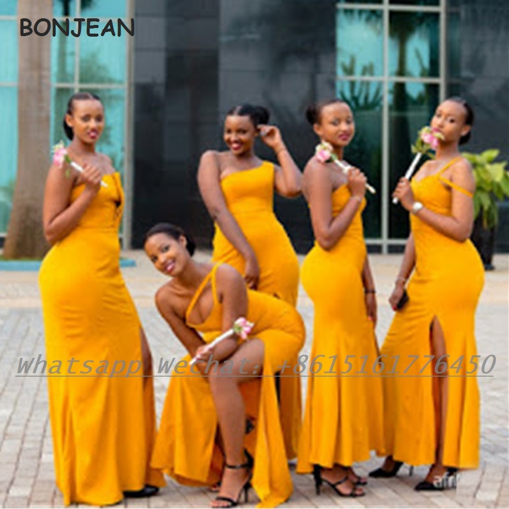 Orange Black Girls Bridesmaid Dresses 2021 Elastic Satin African Bridesmaid Dress Plus Size for Women Wedding