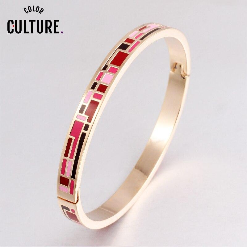 Эмалированный браслет для женщин, из нержавеющей стали золотого цвета, высокое качество, заводская цена