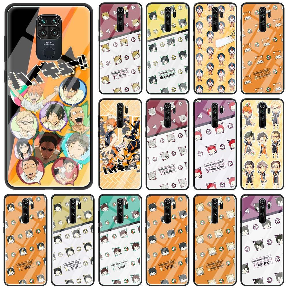 Telefon Fall für Xiaomi Redmi Hinweis 9S 8 8T 9 K30 Pro K20 7 8A 9A 9C 9i gehärtetem Glas Funda Zurück Abdeckung Heißer Haikyuu Hinata Anime
