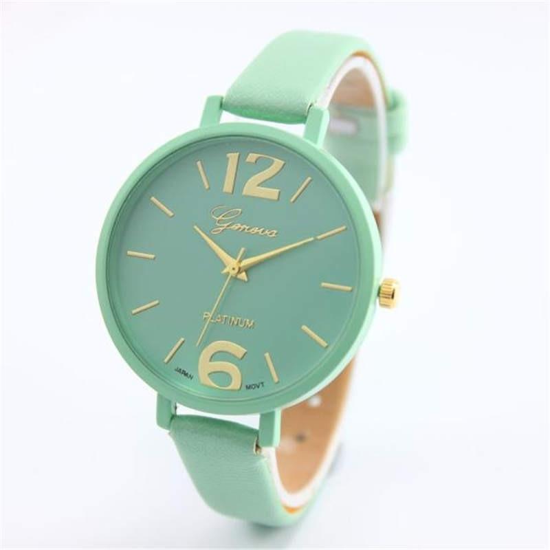 Geneva Women Bracelet Watch Famous brand Ladies Faux Leather Analog Quartz Wrist Watch Clock Women r