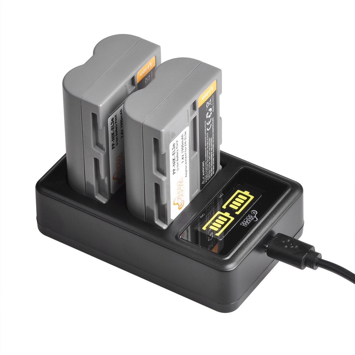 Led para Nikon Bateria Carregador Duplo D50 D70 D70s D80 En-el3e Mah D90 D100 D200 D300 D300s D700 en El3e 1900mah