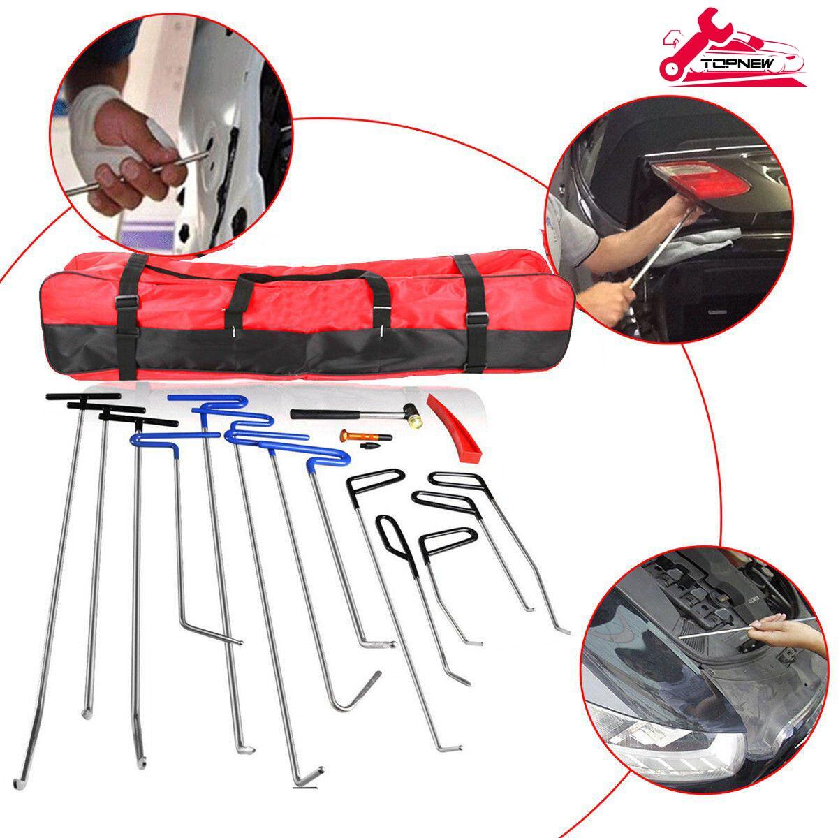 Paintless Dent Removal Rods Hooks Hammer Car Dent Remover Kit Glue Stick Removal Hail Rods Tool Set