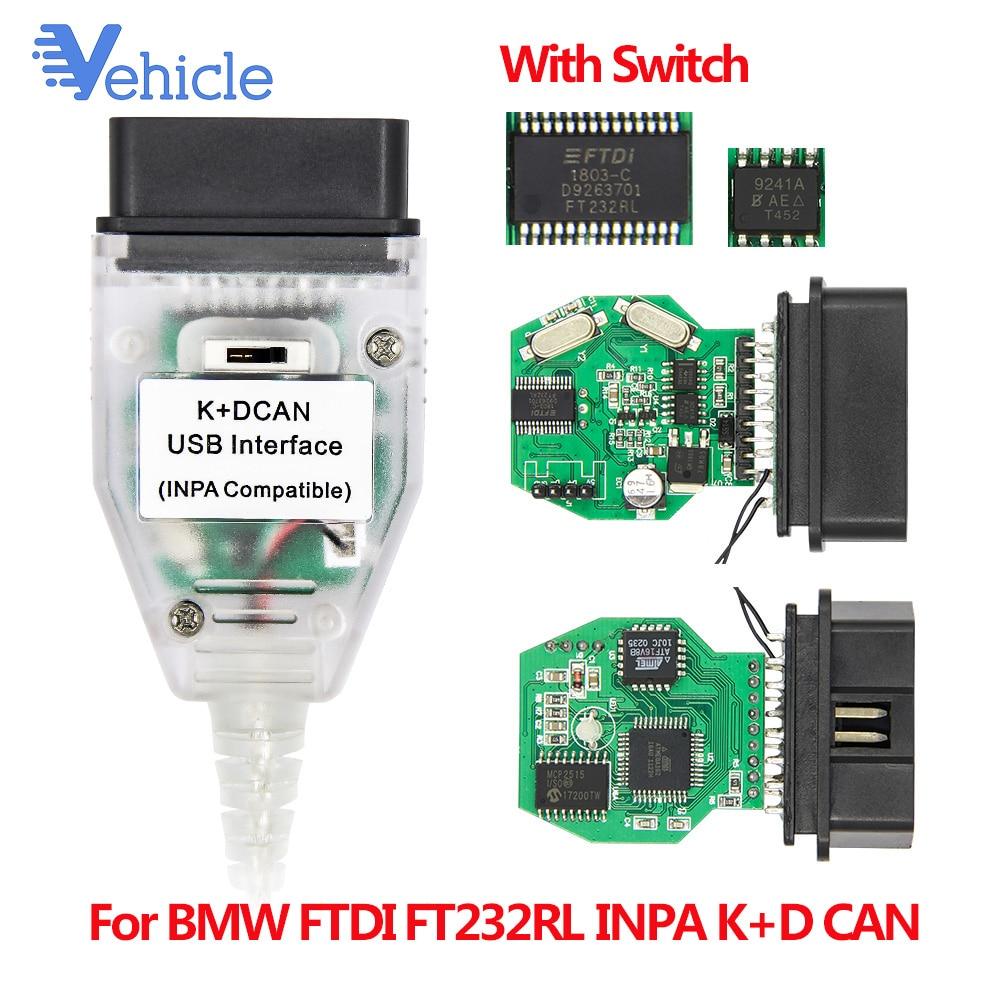Para BMW FTDI FT232RL con interruptor del INPA K + puede OBD OBD2 Cable de diagnóstico del INPA K + D puede FTDI FT232RL para BMW 8 pin K-LINE Protocolo