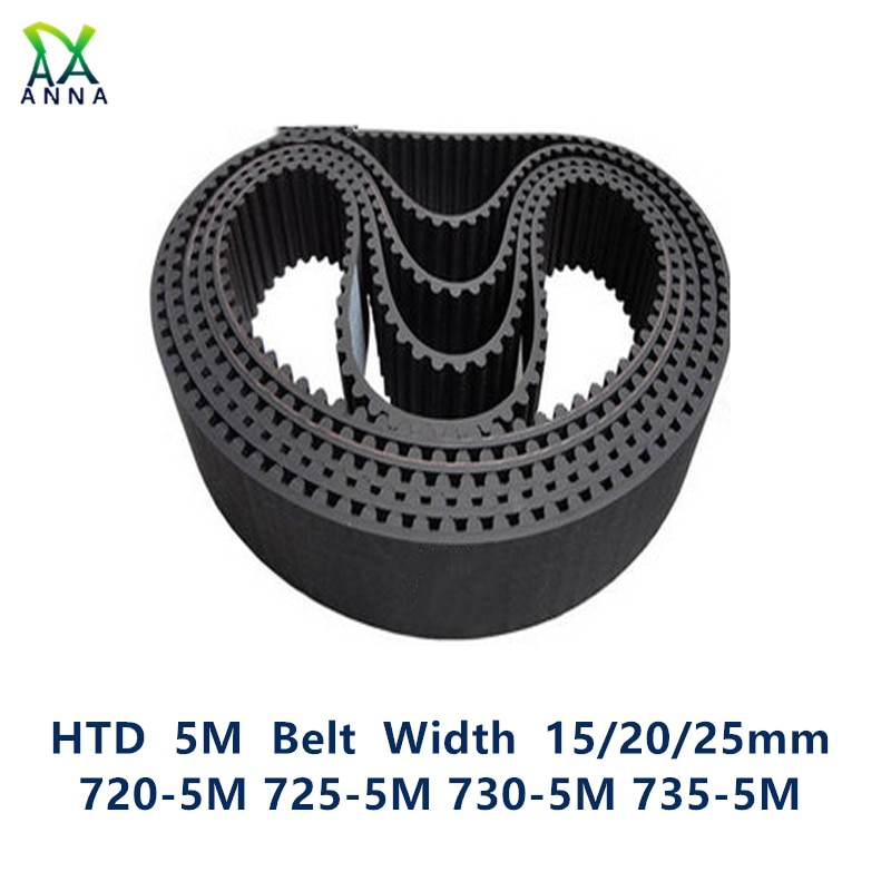 HTD 5M مؤقت اشتعال C = 720/725/730/735 عرض 15/20/25 مللي متر الأسنان 144 145 146 147 HTD5M متزامن حزام 720-5M 725-5M 730-5M 735-5M