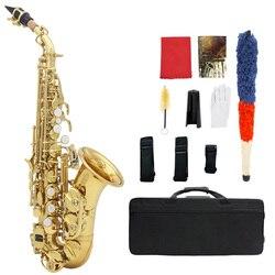Muslady bronze dourado esculpir padrão bb dobrar althorn soprano saxofone sax pérola branco escudo botões instrumento de vento com caso