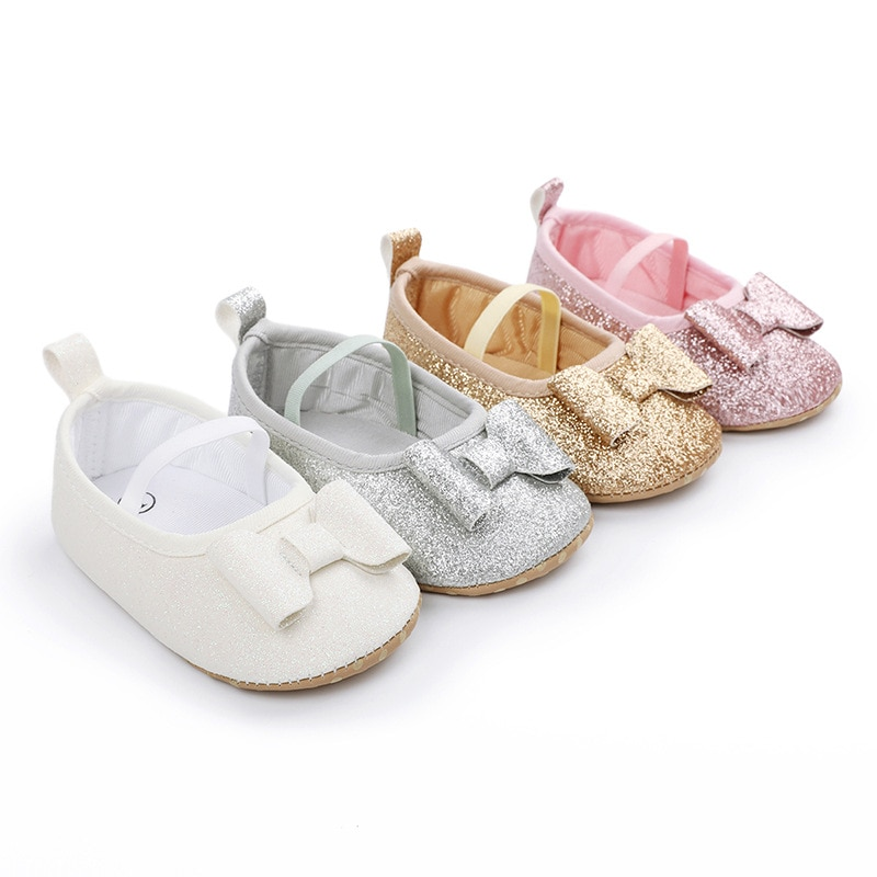 Shining Children's Walking Shoes for Girls 0-1 Year Old Pure Color Bowknot Baby Walking Shoes for Newborn