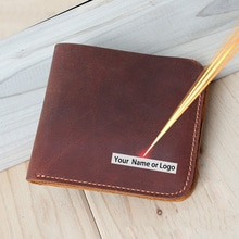 Personalized Handmade Genuine Leather Men Wallets Engrave Short Wallet Men Durable Real Leather Wallet for Men