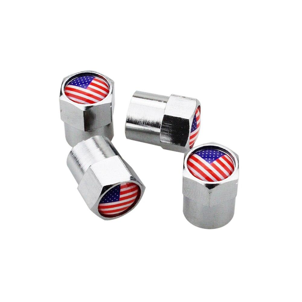 4 uds, tapones para vástago de válvula con estilo para coche, accesorios para ruedas, cubiertas para ruedas, logotipo de bandera de EE. UU. Para asiento Peugeot, Nissan, Mazda, Jaguar, Honda, Buick