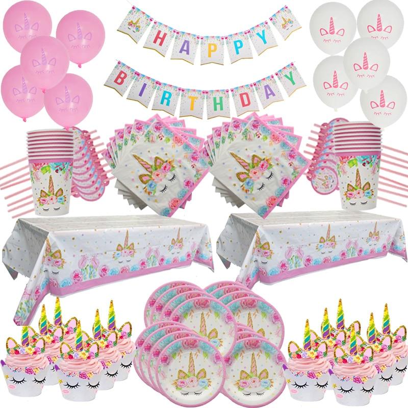 Joy-Enlife 93 шт./компл. единорог украшение на день рождения одноразовый набор столовых приборов Единорог шары чашки тарелки салфетка детский душ