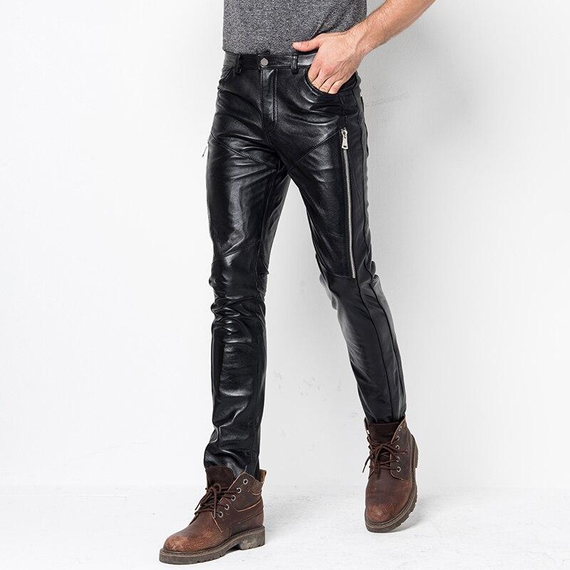 Skinny Genuine Leather Pants 2021 Men's New Fashion Cool Sheepskin Leather Motorcycle Pants Men Streetwear Motorcycle pants