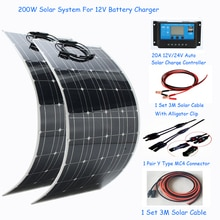 200W Solar Panel System 12v 24V Off Grid KIT 20A Solar Charge Regulator Battery Cable for RV