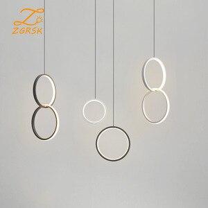 Modern LED Indoor Circular Pendant Lights  Dining Room Living Room Bedroom Decorative Lights Acrylic Wrought Iron Pendant Light