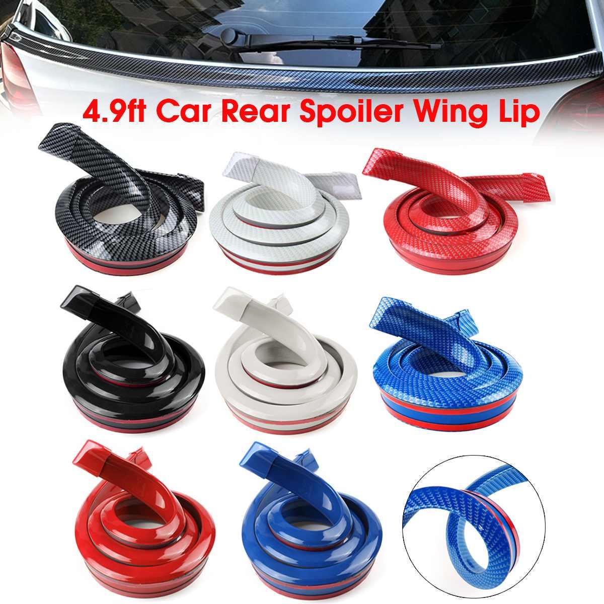 Alerón trasero de goma de fibra de carbono Universal de 4,9 pies para parachoques trasero y maletero alerones para decoración de automóviles 1,5 m x 3,8 cm x 3cm