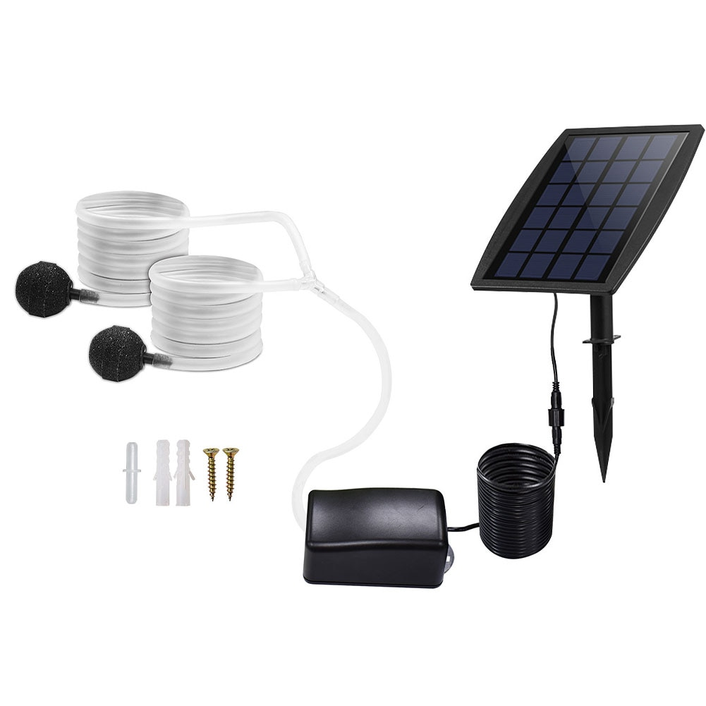Solar Air Pump Kit Inserting Ground Water Oxygenator Aerator With Oxygen Hoses For Pond Fish Tank Garden