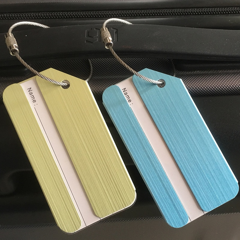 new fashion aluminium metal travel luggage tag baggage suitcase bag name address id label Travel Accessories Creative Women's Metal Luggage Tag Men Portable Label Backpack Suitcase ID Address Holder Baggage Boarding