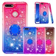 Para huawei enjoy 8e y6 2018 bling líquido glitter dedo anel caso para huawei honor 7a pro caso de silicone macio suporte de diamante capa