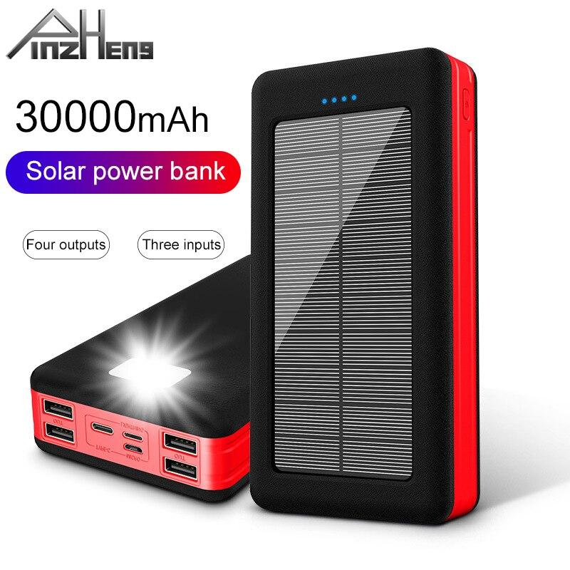 PINZHENG 30000mAh الطاقة الشمسية البنك ل Xiaomi مي LED ضوء المحمولة شحن بطارية خارجية Poverbank 30000mAh USB تجدد Powerbank