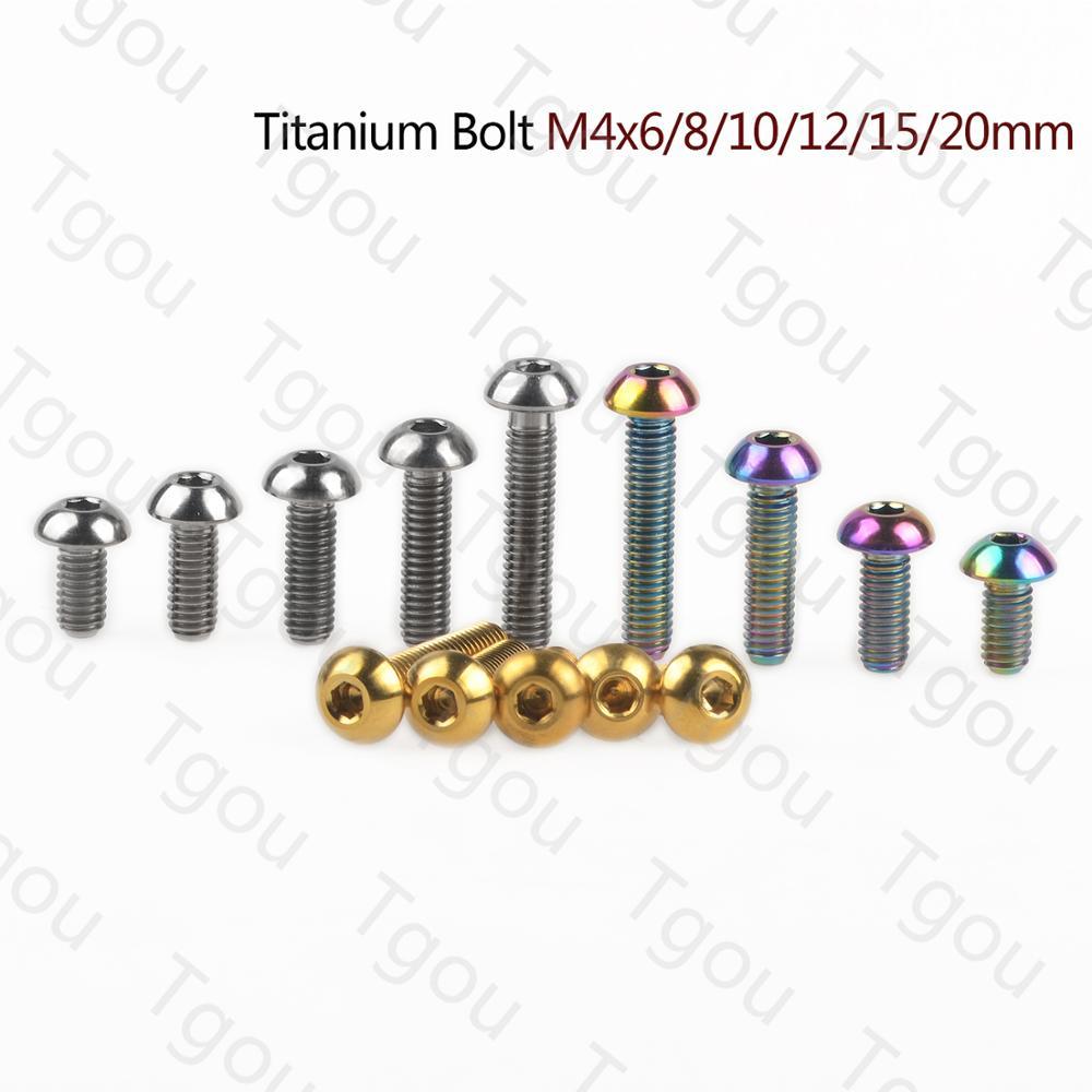 Титановый болт Tgou M4x6/8/10/12/15/20 мм, винты с шестигранной головкой для велосипедов, 1 шт.