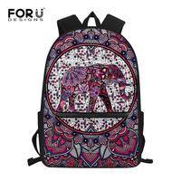 FORUDESIGNS Children School Bags Colorful Mandala Elephant Print Backpack for Kids Cool Teen Girls Boys Schoolbags Mochila