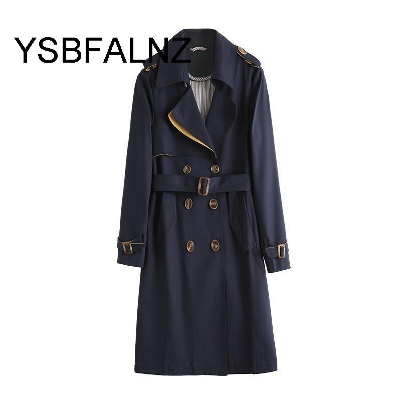 خندق معطف للنساء الخريف الشتاء النساء أنيقة مزدوجة الصدر الصلبة عباءة الإناث الكورية نمط الراقية خندق مع حزام