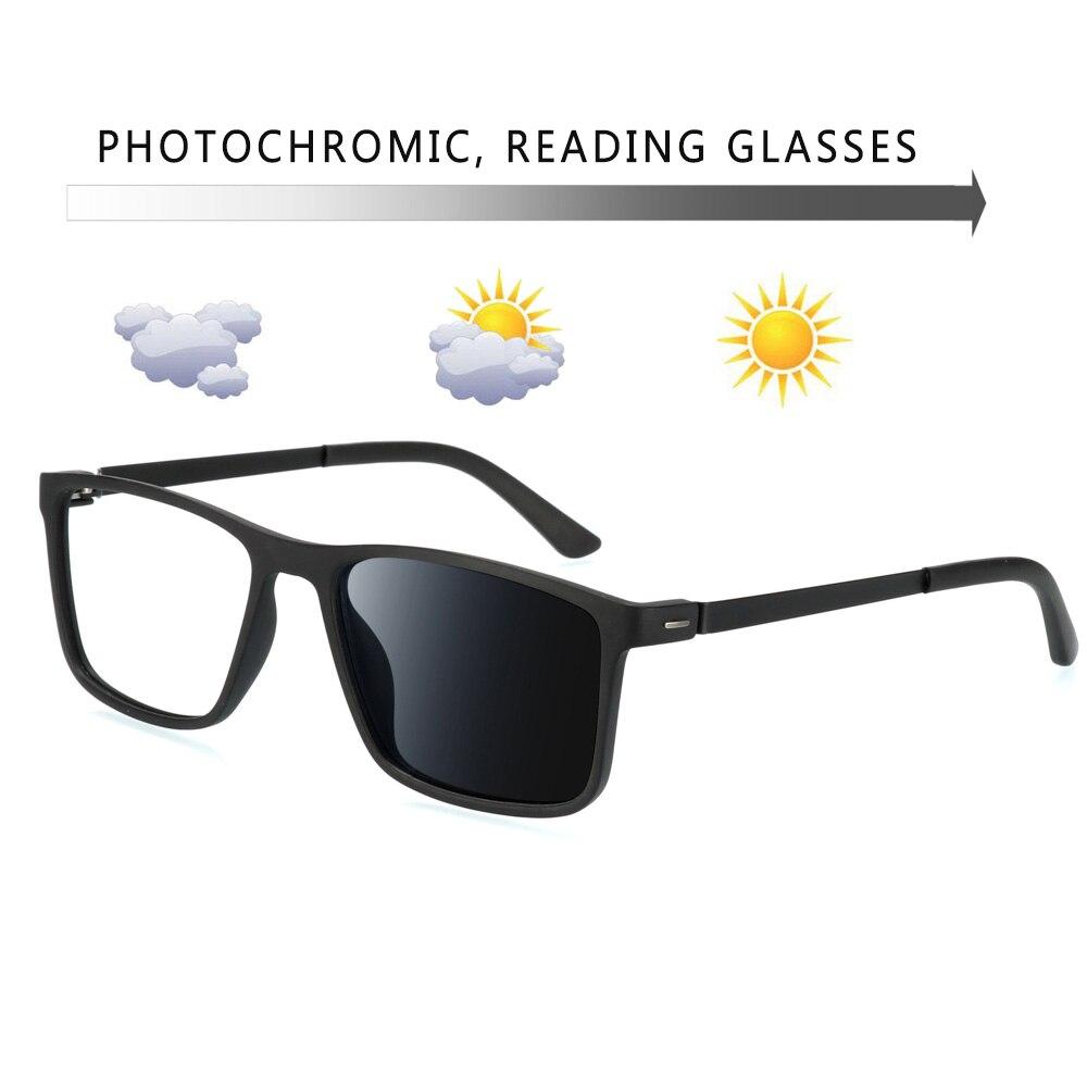 Lunettes de lecture classiques pour hommes   Verres photochromiques, monture carrée complète, lunettes de lecture pour hommes + 50 75 1.25 1.75