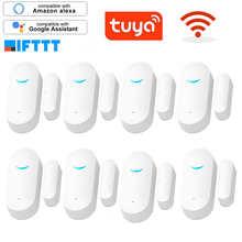 Tuya App Smart WiFi Door Sensor Door Open Closed Detectors WiFi Home Alarm Compatible With Alexa Google Home Security Sensor