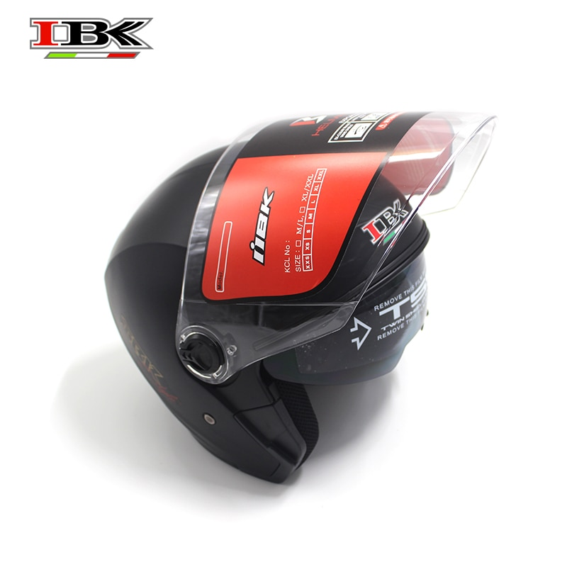 IBK 3/4 Safety Helmet Motorcycle Electric Bicycle Casco Unisex Anti-UV Double Lens protective black matte Helmet IBK-705 enlarge