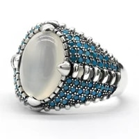 real solid 925 sterling silver agate ring men vintage natural onyx stone turquoise blue stone ring large oval shape male jewelry